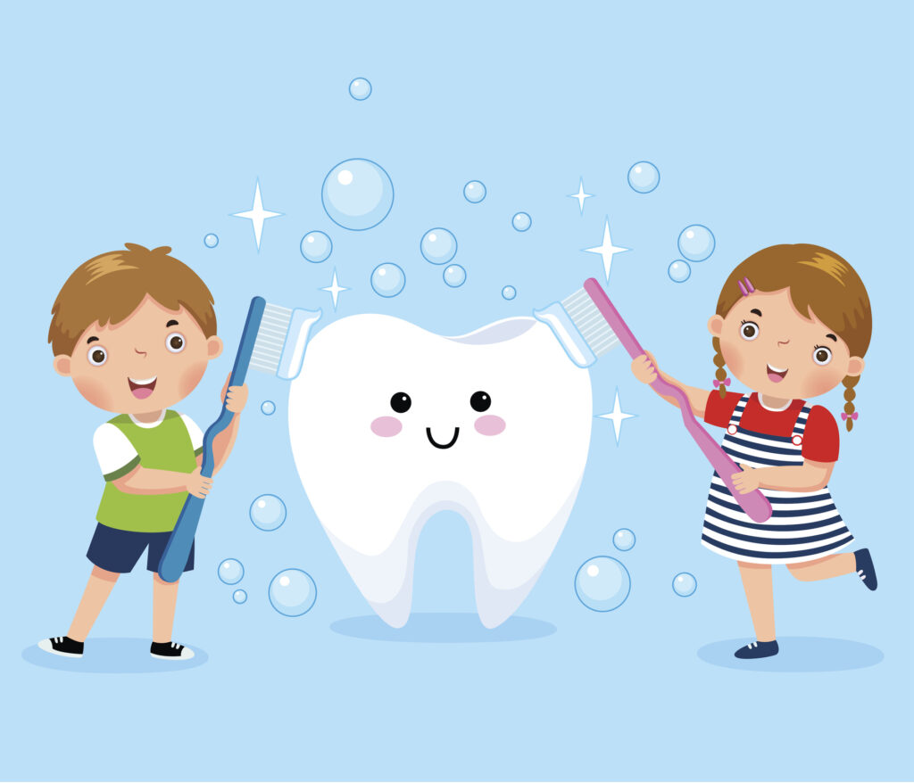 Boy And Girl Brushing White Tooth